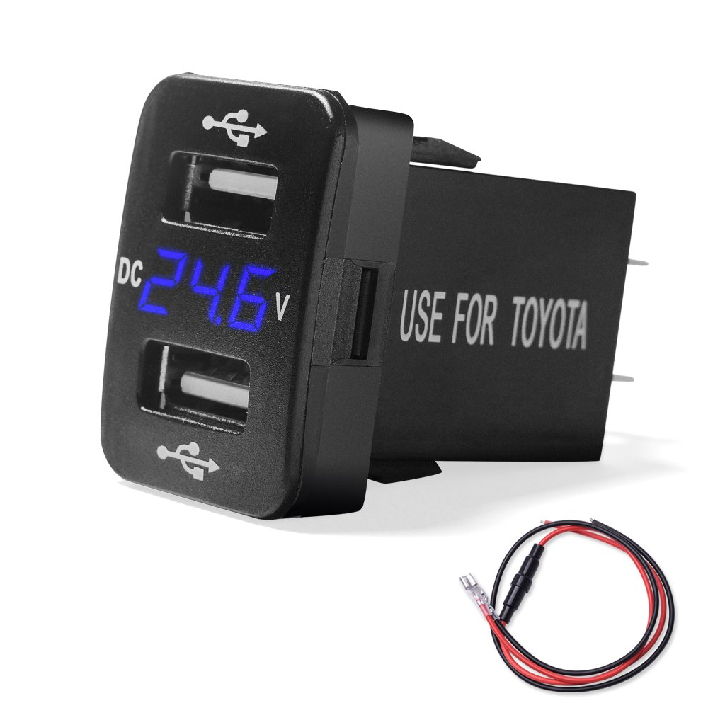 MICTUNING 2.1A Dual USB Charger Power Socket with Digital Voltmeter Blue LED Light for Smartphone iPhone iPad PDA Laptop GPS for Toyota