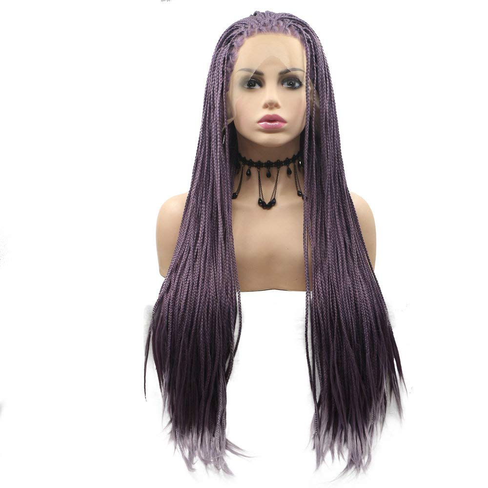 Rainahair 24inch Lavender Lilac Handmade Box Braided Lace Front Wig Heat Resistant Fiber Lilac Purple Synthetic Braids Wigs Women Drag Queen Makeup Party Festival Cosplay Daily Wear