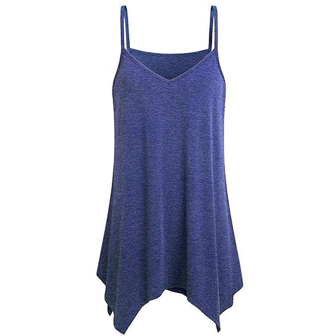 Moda Mujeres Camisas sin Mangas Irregulares de Verano con Cuello en V de Cami,Dama