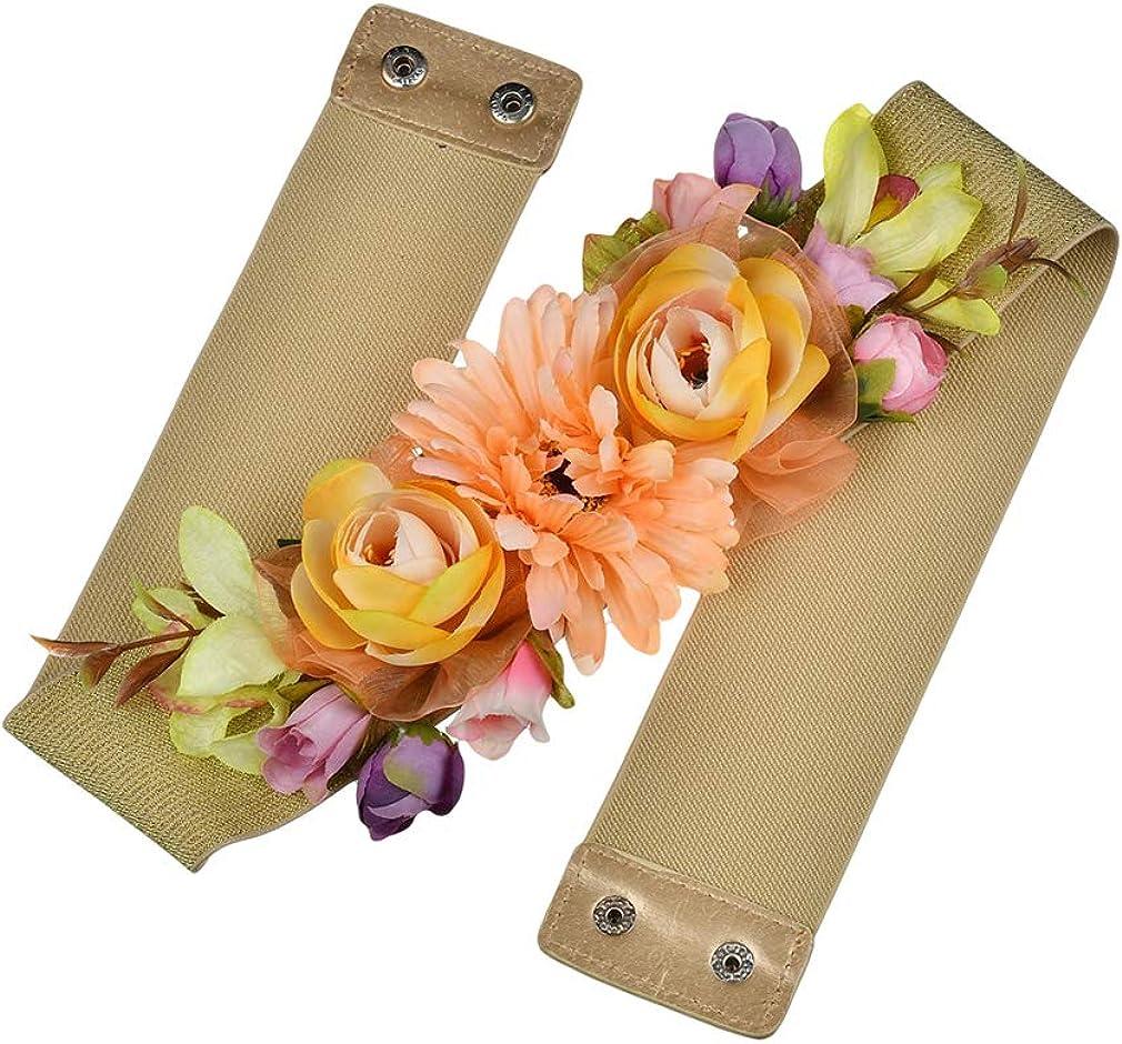 Kunfang Dolce Elegante Donna Cintura Fiore Rosa Elastico in Vita Catena Fibbia da Sposa Cintura Boho Floral Belt Accessori