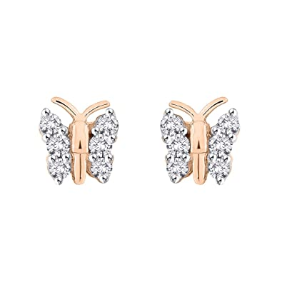 Amazon Diamond Butterfly Earrings in 10K Rose Gold 1 4 cttw