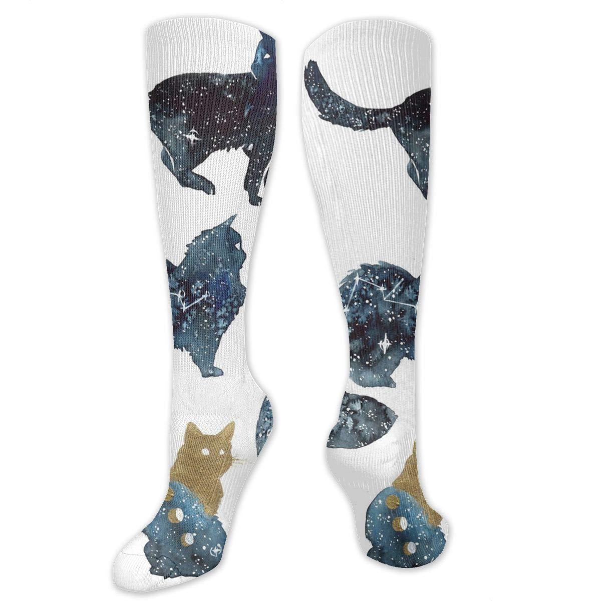 Men Multicolored Pattern Fashionable Fun Crew Cotton Socks Chanwazibibiliu Galaxy Cats by Threeleaves Mens Colorful Dress Socks Funky