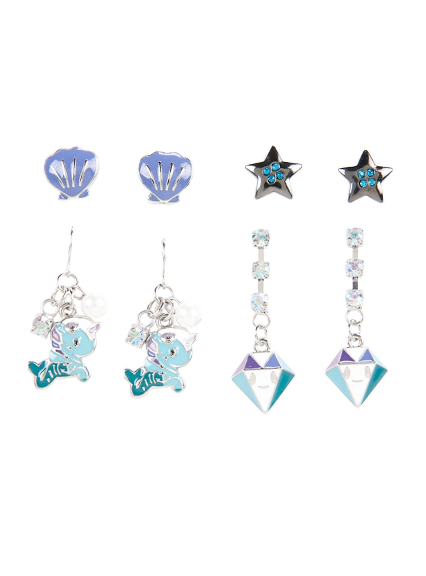 Tokidokii Mermicorno Earrings 4 Pair Set