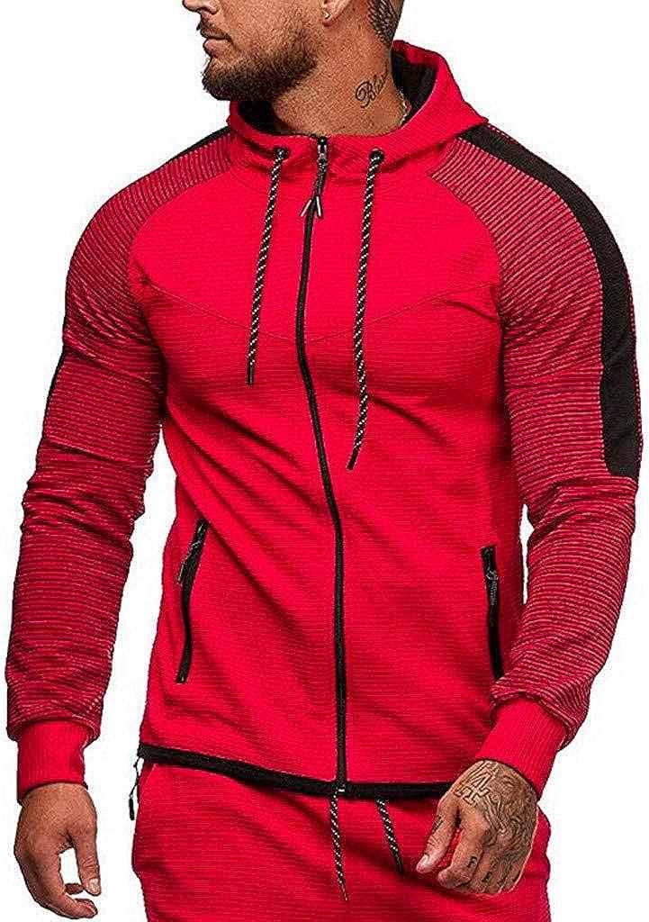 Realdo Mens Stripe Splice Color Hoodie Long Sleeve Patchwork Hooded Sweatshirt Full Zipper Top Coats