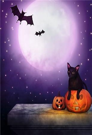 Aofoto 3x5ft Halloween Background Grimace Pumpkin Black Cat Bats Photography Backdrop Night Sky Full Moon And Stars Kid Baby Child Boy Girl Portrait