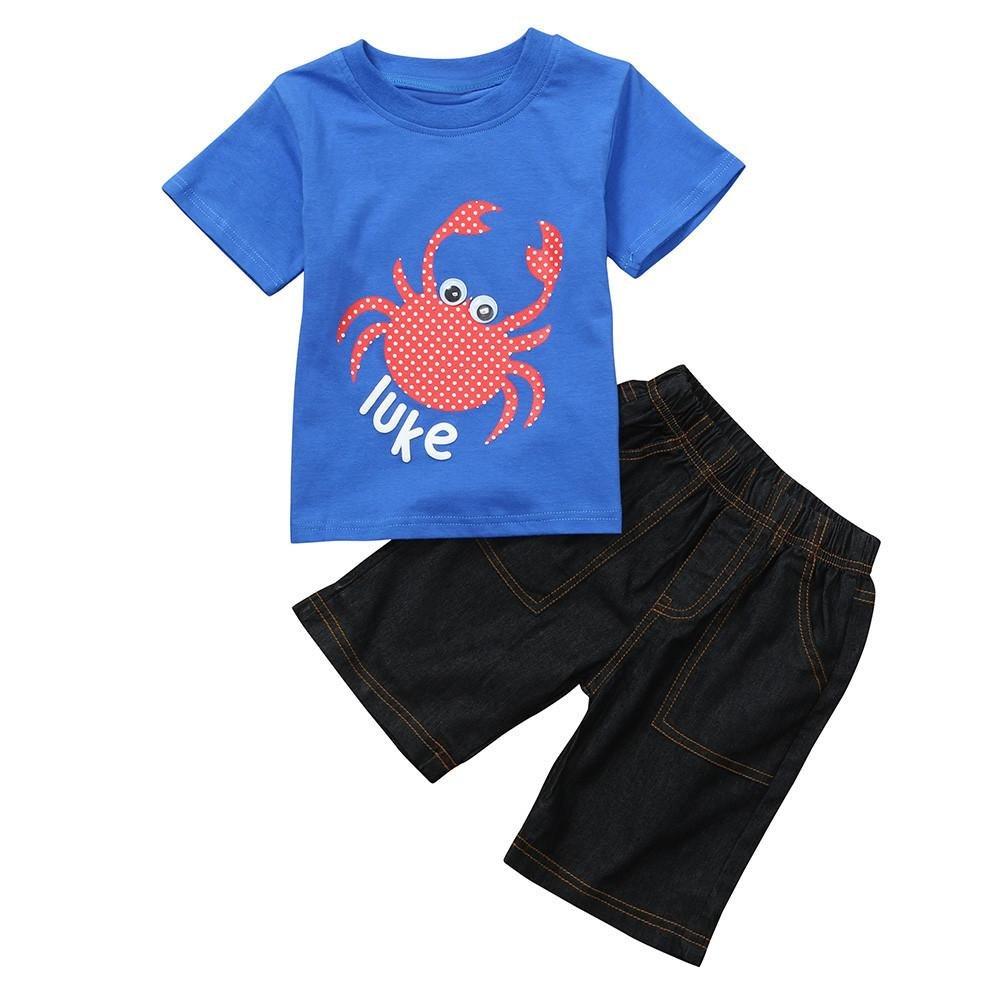 Jimmackey 2pcs Neonato Ragazzo T-Shirt Granchio Stampa Camicia Cime + Denim Pantaloncini Bambino Completo Abiti Set