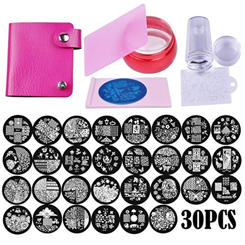 Biutee Nail Stamping Plates Set 30pcs Nail Plates 2stamper 2scraper 1storage bag 1Plate Holder Flower Animal Pattern Nail plate Template Image Plate Stencil Nails Tool -