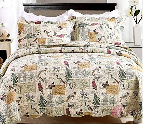 Bedspread Coverlet Set Comforter Oversized 3-Piece Quilt Set Bed Cover (Full/Queen, Birds)