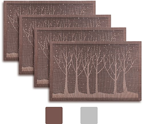 Placemat Set of 4/6/8 Reversible Golden Brown / Silver Grey Gunmetal Color Trees Forest Theme Woven Vinyl Placemats Set (8, Brown / Gold) (Toile Shade Blue)