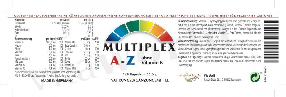 Amazon.com: Pack de 3 Complejo Multivitaminico A-Z sin Vitamina K, 3x 120 Cápsulas Multivitaminas Multiplex Made in Germany: Health & Personal Care