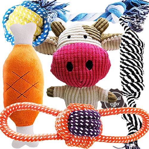 BUIBIIU Dog Toys Puppy Teething Toys Plush Toys Dog Chew Toys Dog Toy 6 Pack
