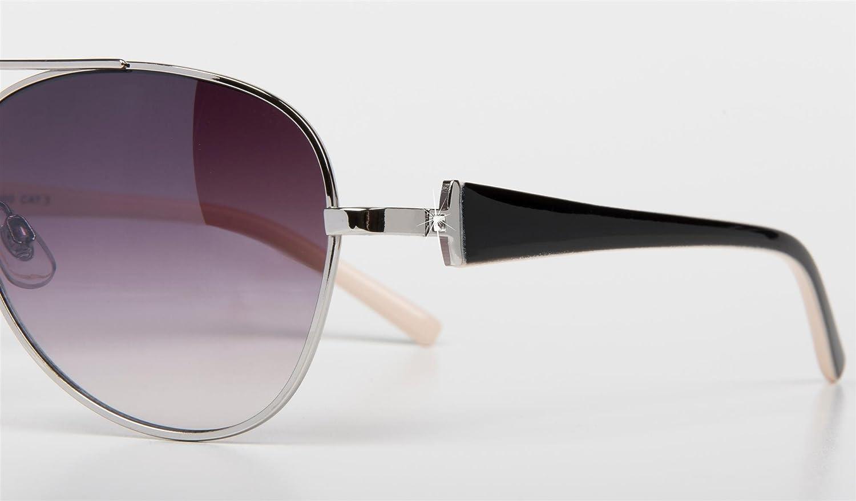 styleBREAKER elegante Damen Pilotenbrille getönt, Aviator Sonnenbrille mit lackierten Bügeln und Strassstein 09020053, Farbe:Gestell Silber-Schwarz / Glas Grau verlaufend