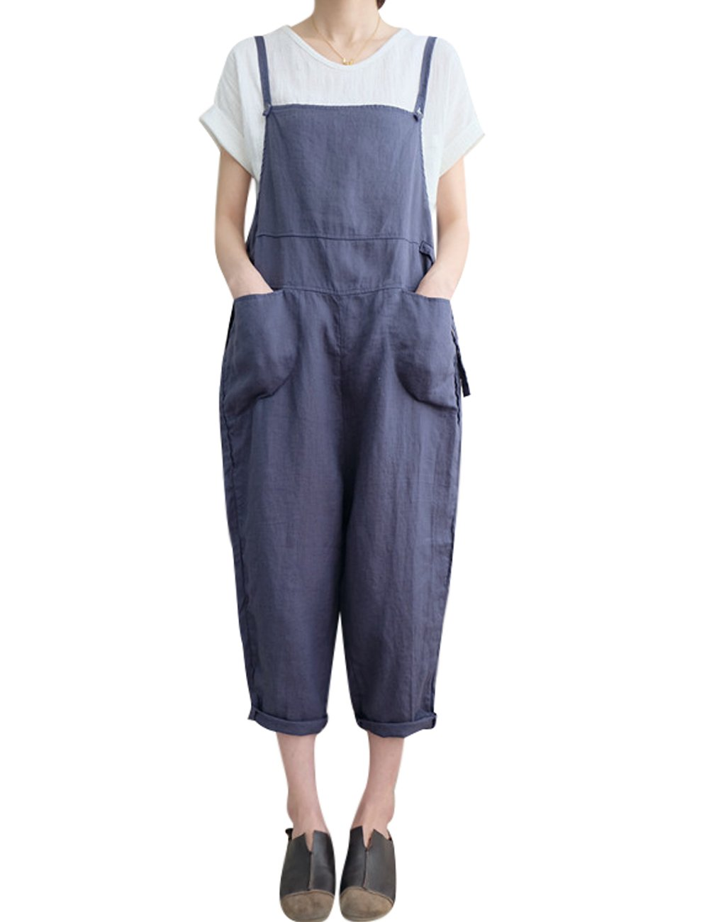 Youlee Women's Summer Wide Leg Jumpsuits Linen Dungarees Youlee-0903-3