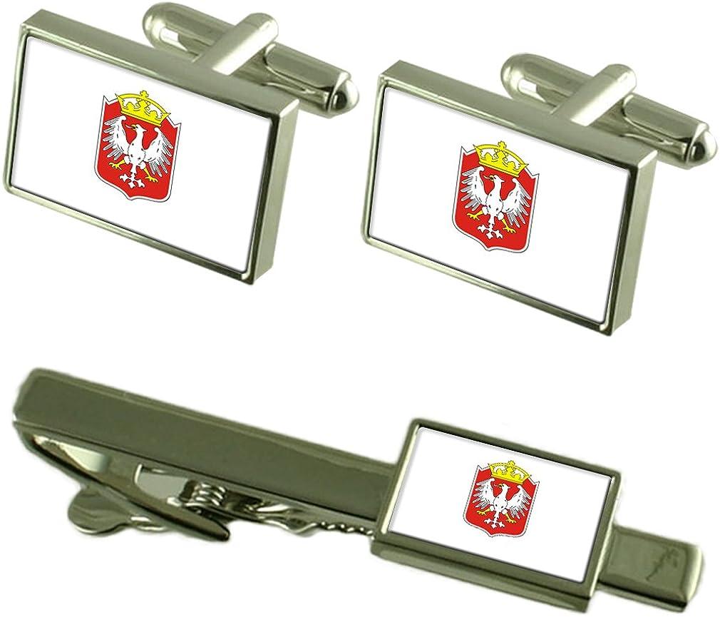 Gniezo City Poland Flag Cufflinks Tie Clip Box Gift Set