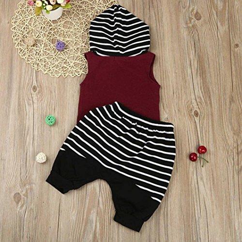 Jiameng ❤ ropa para niños, pantalones a rayas con capucha de niño juego Toddler niños bebé con capucha canotte + pantalones cortos pantalones 2 piezas ...