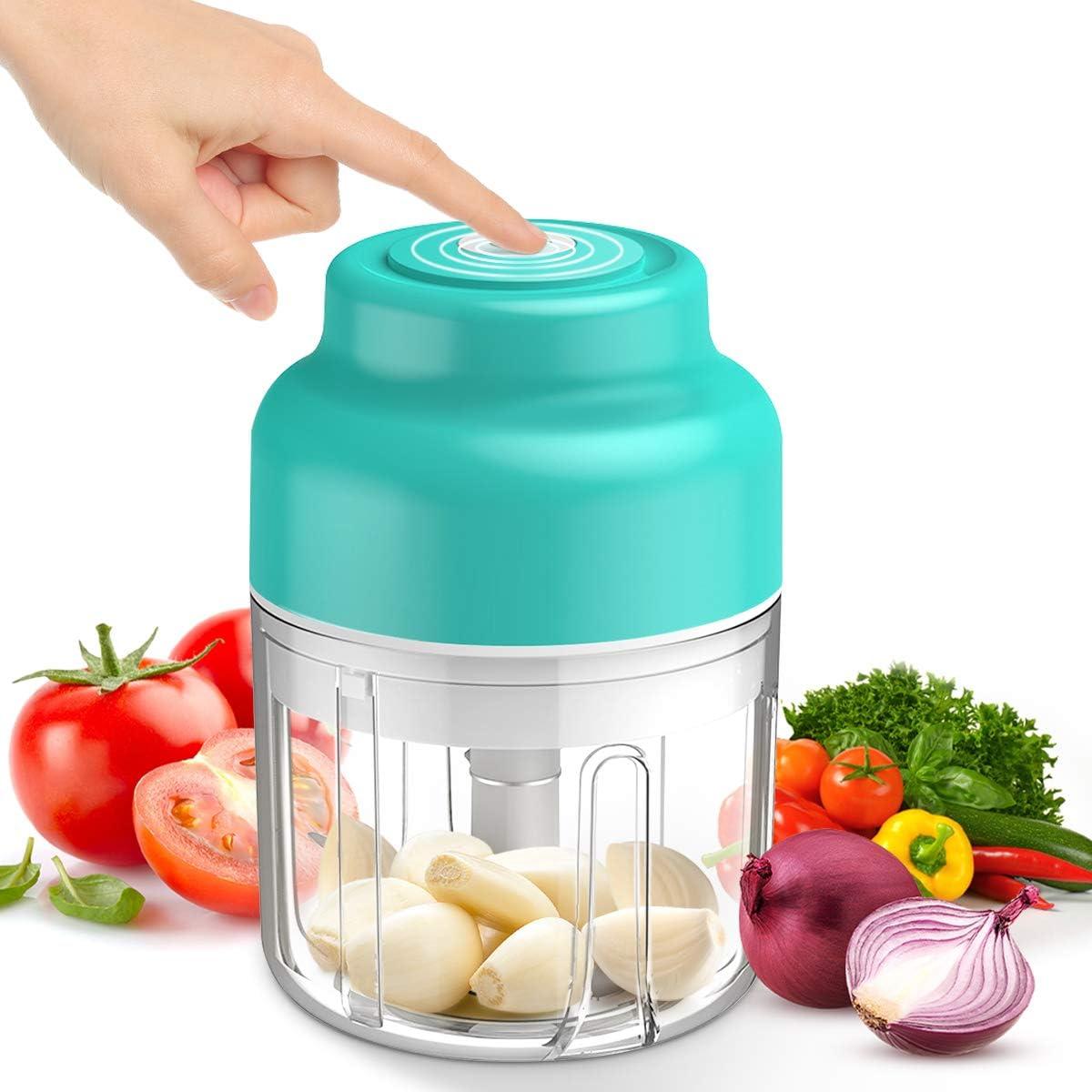 Mini Electric Food Chopper, 250ml Hand-Powered Onion Garlic Chopper Mincer, Portable Processor for Vegetable/Spices/Seasoning/Baby Food