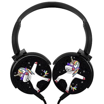 bea650df81ef3 Dab Rainbow Unicorn Space Custom Headphone Adjustable Mega Bass Stereo  Headset Foldable Over Ear Hi-Fi Earphone with High Sound Quality Wired 1.2m  ...