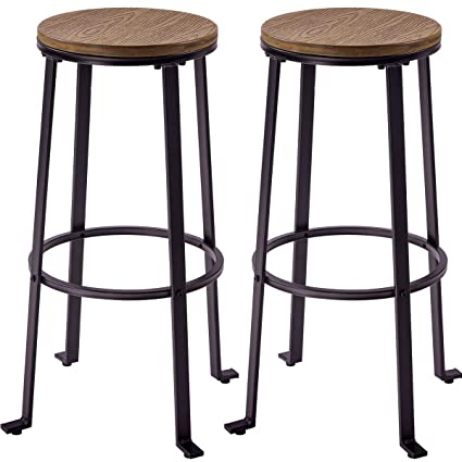 Peachy Harperbright Designs Metal Bar Stools Pub Height Round Wood Top Barstools Set Of 2 Light Brown Machost Co Dining Chair Design Ideas Machostcouk