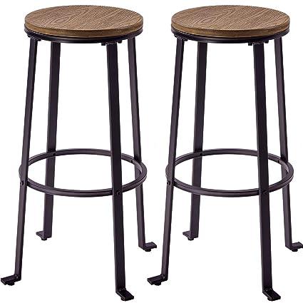 Pleasing Harperbright Designs Metal Bar Stools Pub Height Round Wood Top Barstools Set Of 2 Light Brown Ibusinesslaw Wood Chair Design Ideas Ibusinesslaworg