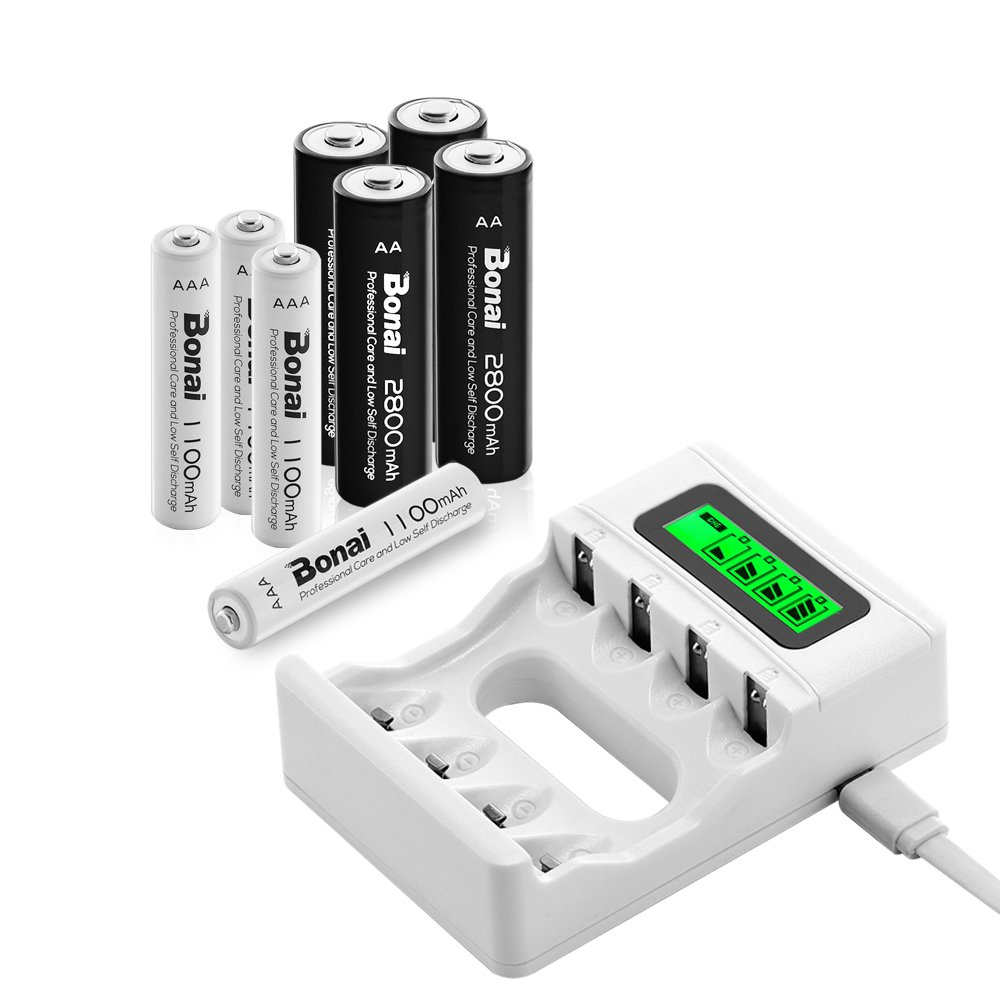 Bonai LCD Smart Individual AA AAA Rechargeable Battery Charger With 4 Packs 2800mAh AA Rechargeable Batteries and 4 Packs 1100mAh AAA Rechargeable Batteries by Bonai