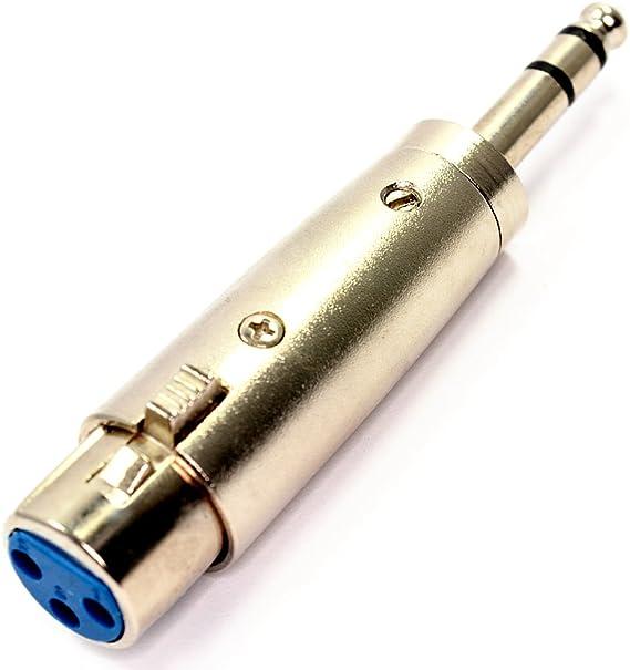 Image ofXLR Femenino Agujeros A 6,35 mm Estéreo Conector Jack Clavija Adaptador Convertidor