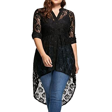 55ed991abe5 ManxiVoo Women s High Low Lace Blouse Button up Long Sleeve Lace Shirt Top  Plus Size (