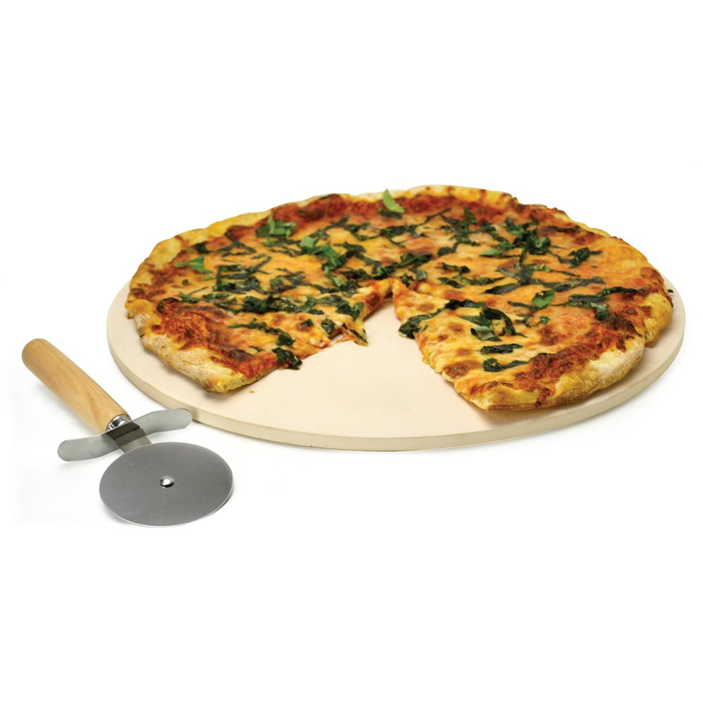 Amazon.com: Ecolution Kitchen Extras Pizza Stone with Wooden Handle ...