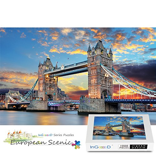 Ingooood 1000 Pieces Wooden Jigsaw Puzzle Landscape London Tower Education Toy Gift for Adult Children