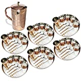 Prisha India Craft ® Set of 6 Dinnerware Traditional Stainless Steel Copper Dinner Set of Thali Plate, Bowls, Glass and Spoons, Dia 13'' With 1 Luxury Style Pure Copper Pitcher Jug - Christmas Gift