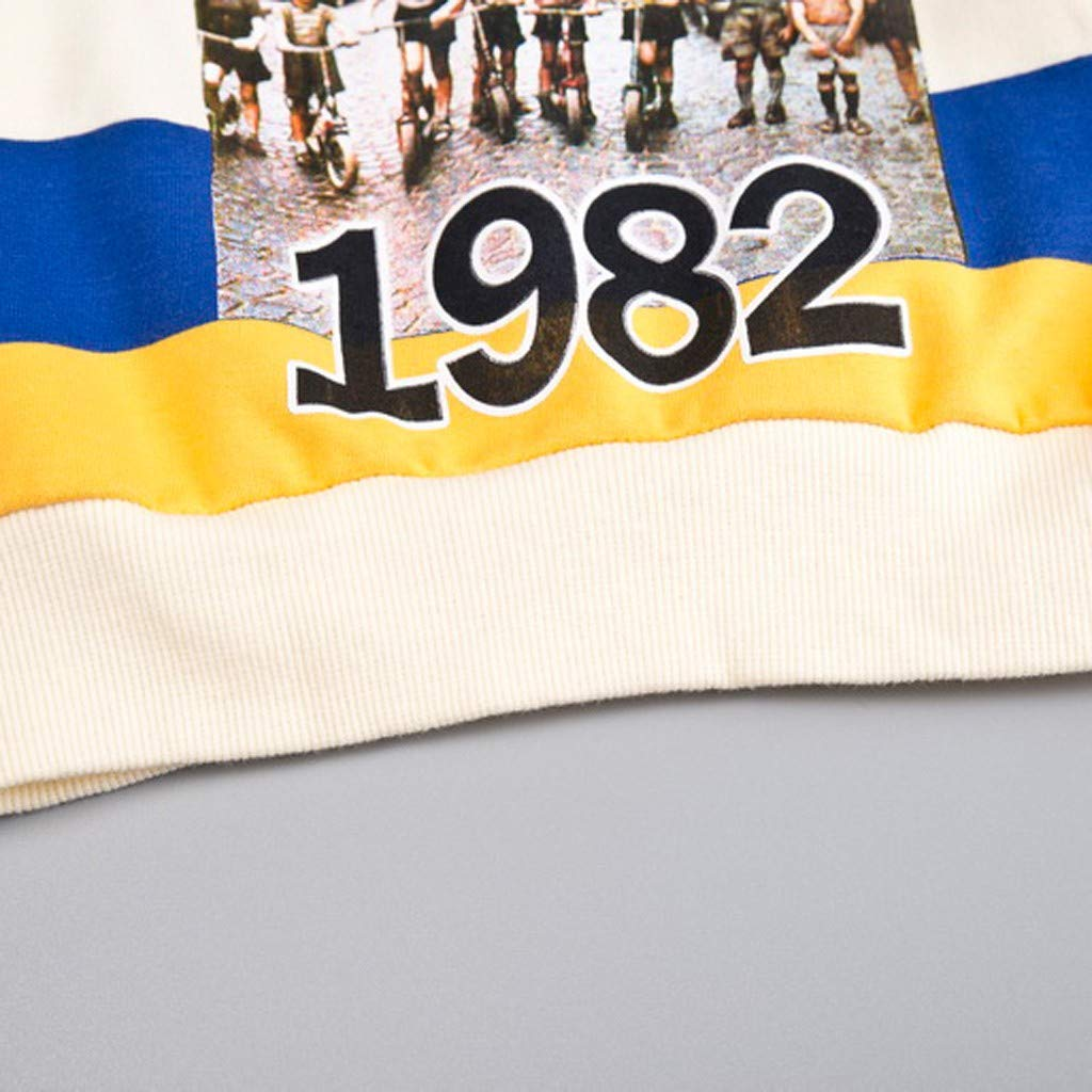3 Jahre wuayi Baby Jungen Hoodie Baby Boys 1982 New York Bunt Gestreiftes Langarm-Sweatshirt Tops Herbst Winterkleidung 6 Monate