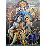 "Lord Shiva Family With Vishnu/ Large Hindu God Poster with Glitter Effect -reprint on paper (Unframed : Size 20""x28"" Inches)"