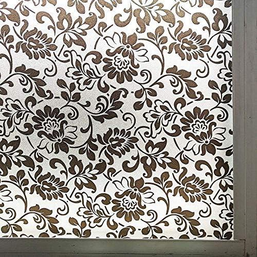 ガラスフィルムウィンドウフィルム黒花柄プライバシーウィンドウフィルムつや消し接着剤静電気防止ガラスフィルムアンチUVウィンドウ装飾ステッカー