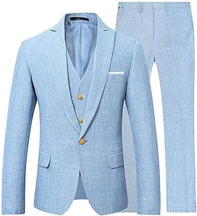Amazon.com: Conjunto de traje de lino para hombre de 3 ...