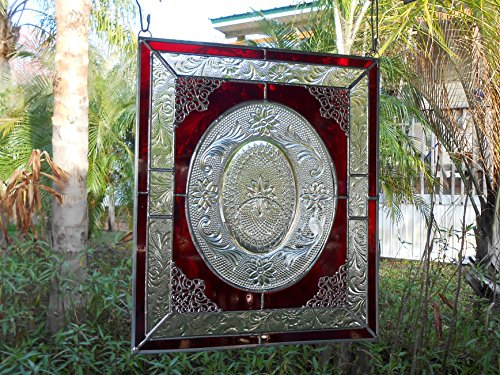 Crystal Depression Glass (Stained Glass Window Panel w/ Recycled Vintage Glass, Suncatcher, Red and Crystal Tiara Sandwich Glass Window Transom, Antique Glass Valance)