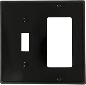 Leviton 80707-E 2-Gang 1-Toggle 1-Decora/GFCI Device Combination Wallplate, Black