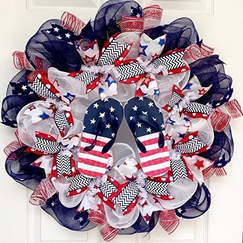 Patriotic Flip Flop Beach Handmade Deco Mesh Wreath