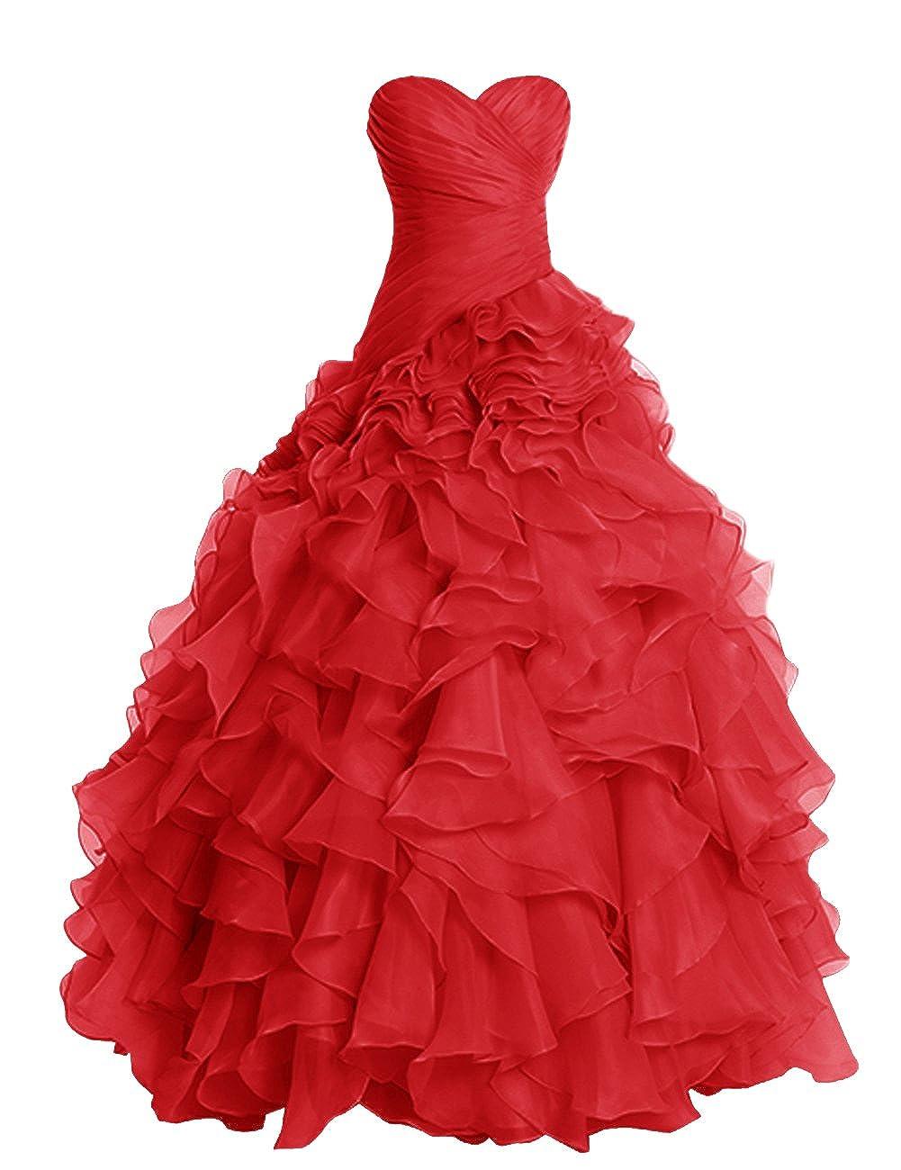 Red Dresstells® Long Prom Dress Fluffy Bridesmaid Dress Wedding Dress with Ruffles