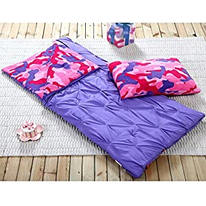 Sleeping Bag and Pillow Cover, Purple Pink Camo Indoor Outdoor Camping Youth Kids Girls