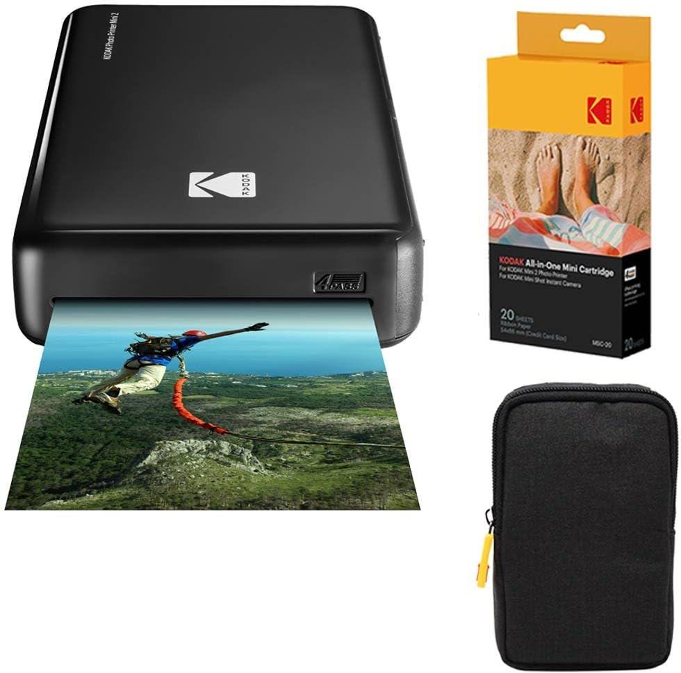 Kodak Mini2 Instant Photo Printer (Black) Basic Bundle + Paper (20 Sheets) + Deluxe Case, AMZKODMP2K1B