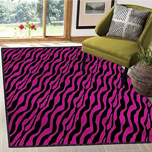 Pink Zebra, Area Rug Anti Slip Pad, Wild Zebra Background Stripes Savannah African Exotic Youth Culture Hippie, Children Kids Nursery Rugs Floor Carpet 5x6 Ft Magenta - Rugs Onyx 5 Area