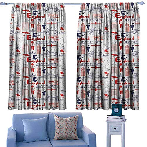 ParadiseDecor London Modern Kids Curtain Sketch Artwork Country British Cultural Collection in Doodle Style,Decorative Curtains for Living Room,W42 x L45 Inch