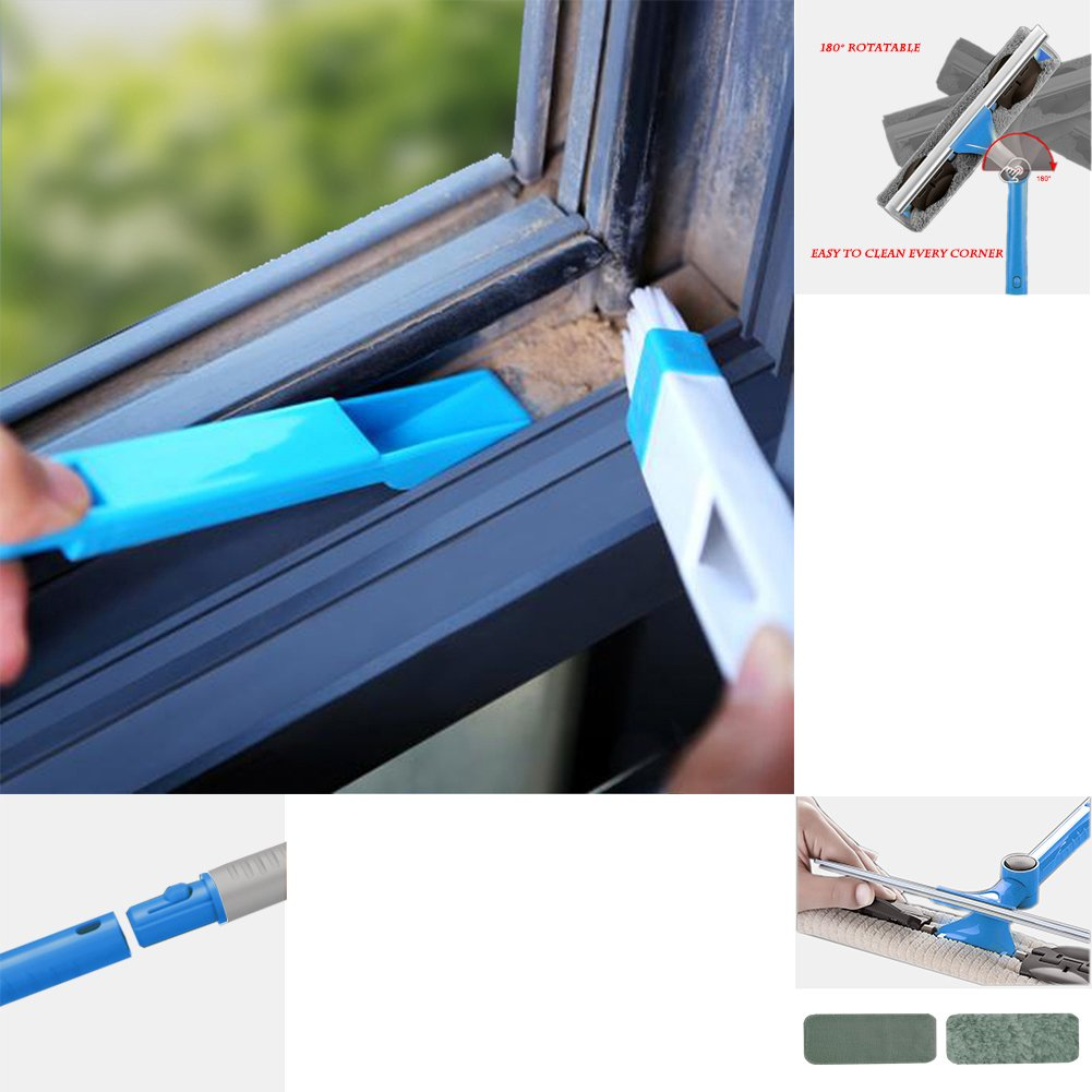 IKU Professional Long Extendable 3-in-1 Window Squeegee Cleaner with Soft Detachable Microfiber Cloth & 180°Rotatable Squeegee Tool & Groove Brush for Windows/ Mirror/ Glass Door/ Car/Ceiling(Blue) by IKU (Image #7)