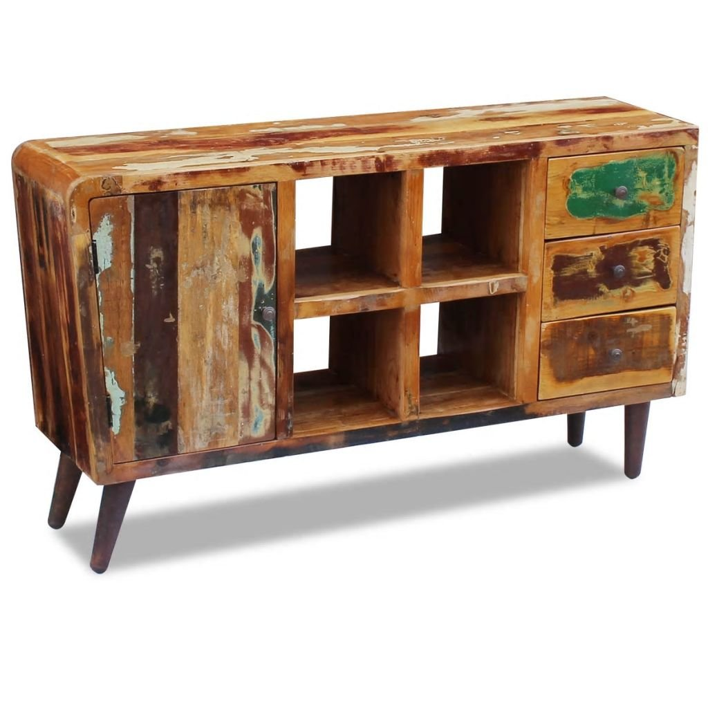 FZYHFA Sideboard aus Massivholz, 150 x 40 x 86 cm, Mehrfarbig