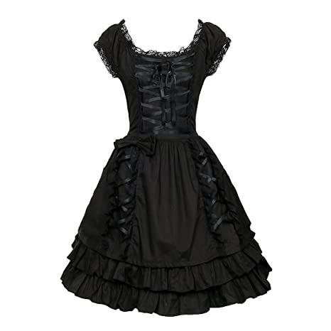 Nofonda Vestido Negro Gótico Clásico de Chicas Disfraz de Bruja Vampiro Falda Lolita Dulce Steampunk para