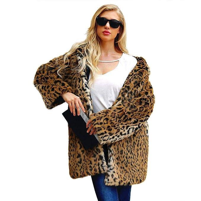 Biback Mujer Invierno Abrigo Piel Sintética, Chaqueta Mujeres Estampado Leopardo Abrigo de Piel sintética Chaqueta