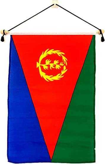 Amazon Com Eritrea 12 X18 Polyester Wall Banner Flags 12 X18 Eritrean Wall Or School Flag Mounted On A Birch Wood Banner Pole Much Larger Than Mini 4 X6 Banner Flags Garden