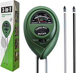 BEBEP Soil Tester, 3-in-1 Soil Moisture Meter, Light and PH Acidity Tester, Plant Soil Tester Kit for Garden Farm Lawn, Indoor & Outdoor
