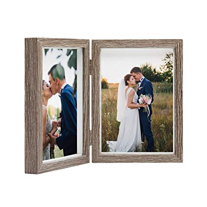 Afuly 7x5 Double Photo Frame Rustic Wooden Picture Frames For Desk Wedding Gift