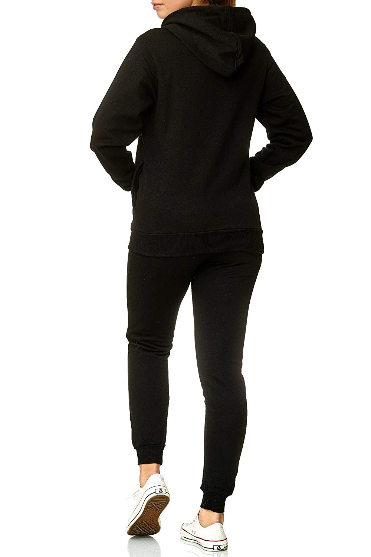Set=Hose und Jacke Trainingsjacke und Jogginghose Violento Damen Trainingsanzug Jogginganzug mit Kapuze und Rippstrickb/ündchen