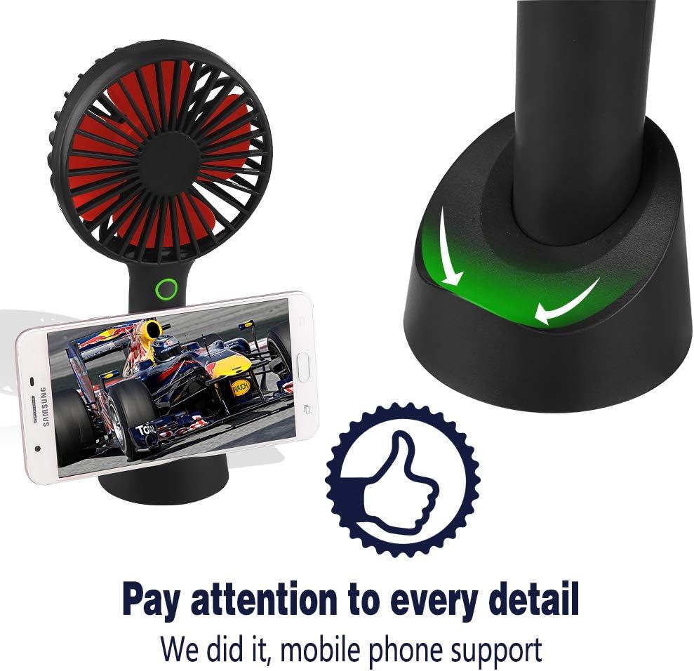 USB Rechargeable avec 3 Vitesses Black Fan Pliable et Portable pour Maison Ventilateur /à Main Mini Ventilateur Silencieux Suspension Bureau et Voyage